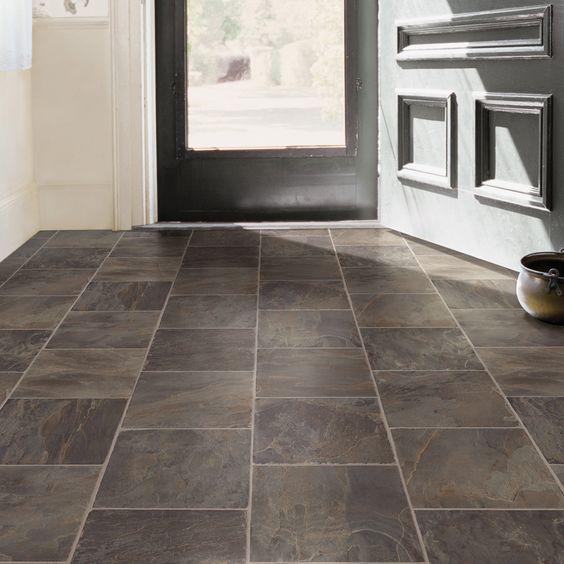 Shop tarkett 12 ft w steel stone low gloss finish sheet vinyl at for the home for Sheet vinyl flooring bathroom