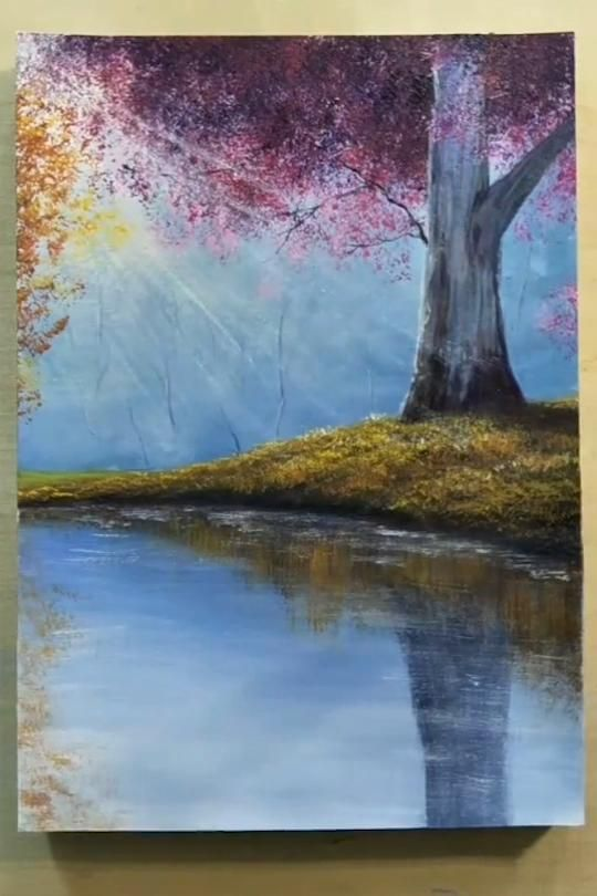 Arbol Rosa En El Lago Blossom Cherry Painting River Tree Tree Art Tree Design Tree Lands Amazing Art Painting Nature Art Painting Painting Art Projects