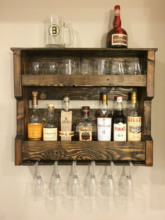 Wood wine and or liquor shelf rack pallet wood rustic for Pallet wine cabinet