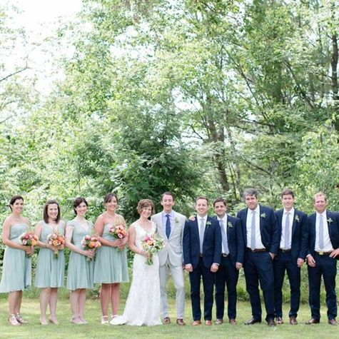 Navy and Dusty Shale Wedding Party