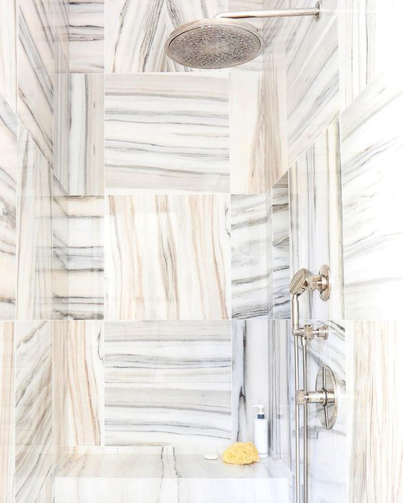 """#NowPinning: stunning marble details. Follow along → Pinterest.com/MyDomaine. 