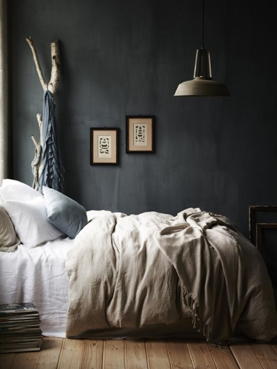 Try this earthy bedroom look with Resene Baltic Sea which is a navy or Dulux Juniper Green, a dark moss.