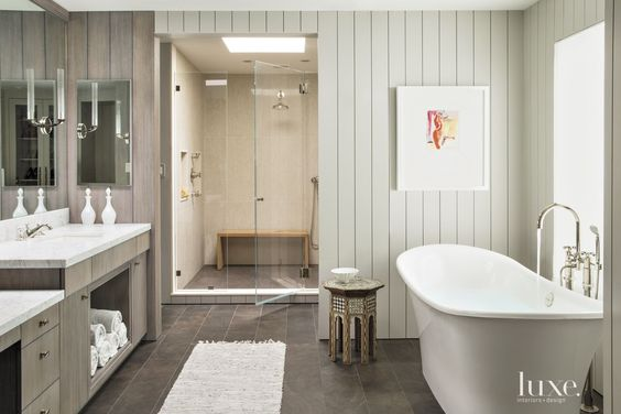 Contemporary Neutral Bathroom with Freestanding Tub