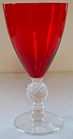 Morgantown Golf Ball Golfball Water Goblet Stem - Spanish Red: