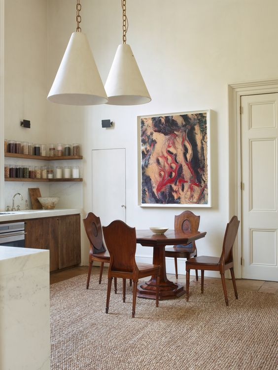 Plaster cone pendants in a uniquely classic kitchen in London. Rose Uniacke's Classic Designed Minimal Home in London.