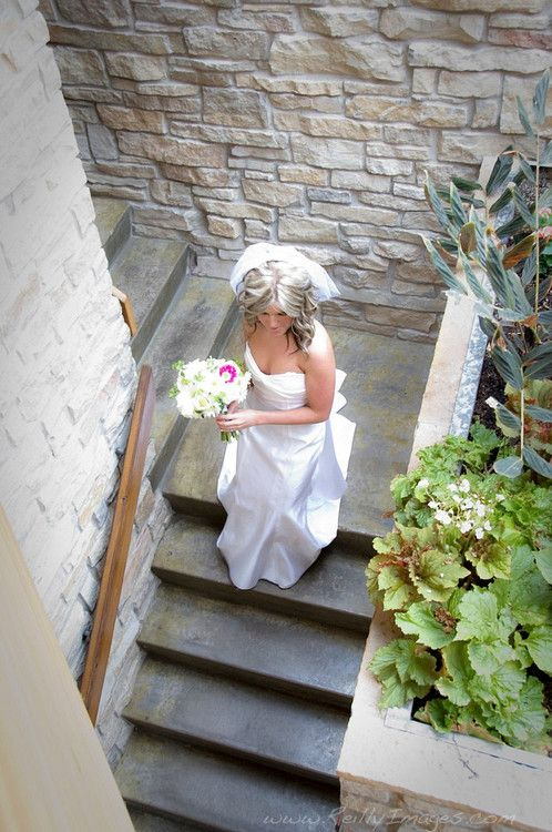 A great angle on this bride walking down the steps at Olbrich Gardens in Madison, Wisconsin.