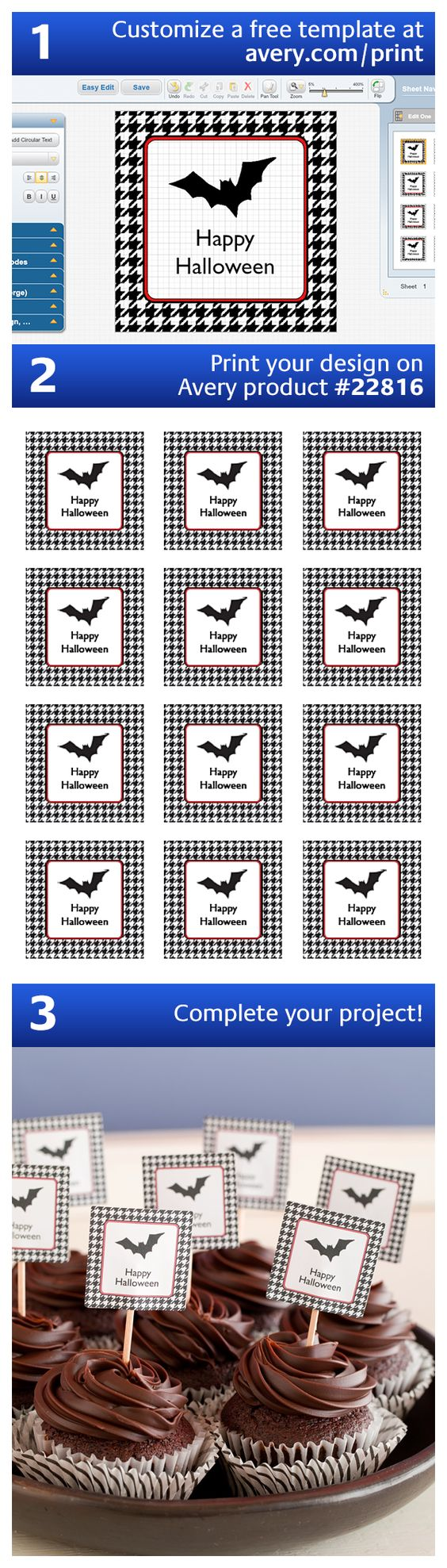 halloween projects cupcake toppers and printable. Black Bedroom Furniture Sets. Home Design Ideas