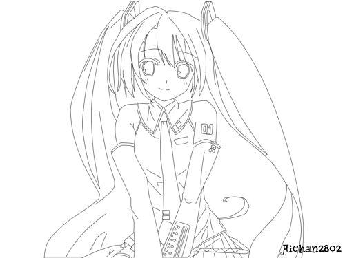 Vocaloid Hatsune Miku Lineart By Aichan2802 Miku Art Diary Cool Art Drawings