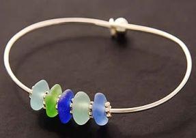 Sea Glass Bracelets, Seaglass Bangles, Beach Glass Jewelry
