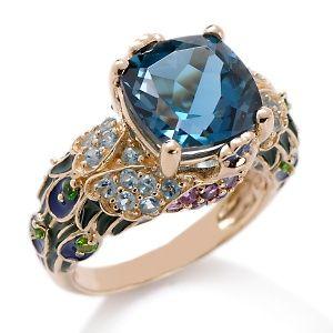 Victoria Wieck 14K oro y topacio azul Anillo de piedra del pavo real