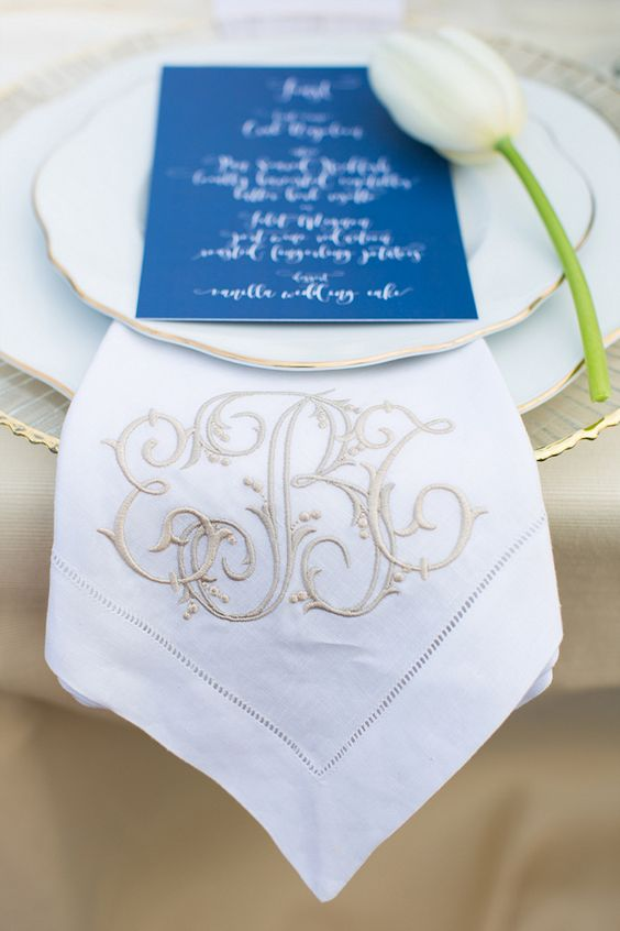 The World Is Your Oyster Styled Shoot - Coastal Bride, monogrammed napkin from Number Four Eleven