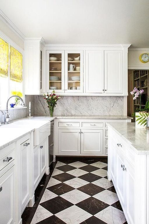 20 Vintage Kitchen Floor Ideas With High Quality Marble Tiles White Tile Kitchen Floor White Kitchen Tiles Checkered Floor Kitchen