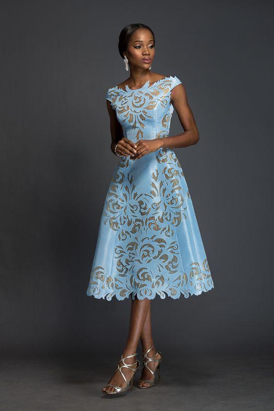 SOPHIA Alice blue Aso-oke, A-line dress patterned with Komole Kandids Nectar motif.: