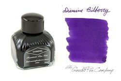 A 2ml sample of Diamine Bilberry fountain pen ink, in a labeled plastic vial.