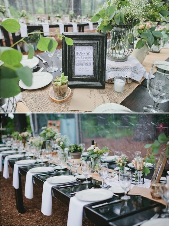 Rustic Chic Rainy Day Wedding In Canada With A Scottish Twist White Napkins Burlap Runners And Black Table
