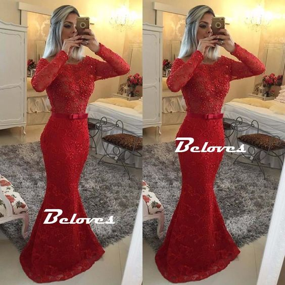 Red Lace Long Sleeves Beaded Mermaid Prom Gown With Sheer Back