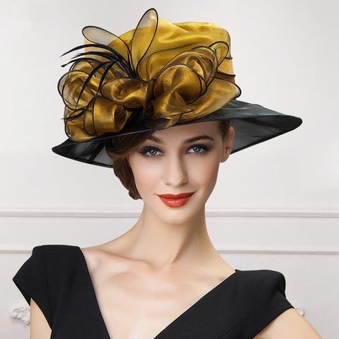 SUNyongsh Womens Ladies Church Wide Brim Tea Party Wedding Hat Fancy Derby Fascinator Cap