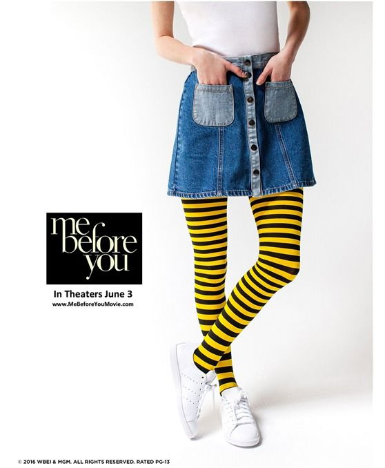 Limited-edition HUE Striped Bumble Bee Tights   inspired by the movie Me Before You, in theaters June 3!
