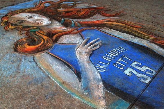 OKC Thunder Venus De Milo | Chalk art by Bobby Marsee | Photo by Jennifer James McCollum