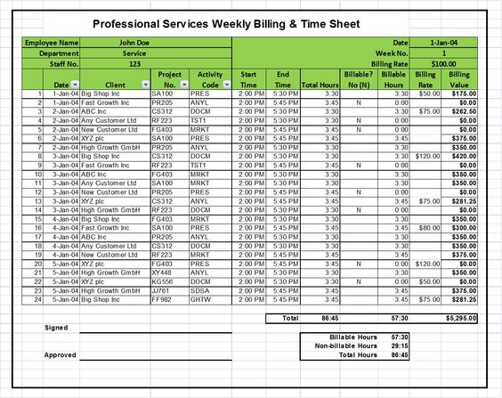 Excel Billing Timesheet Templates for Professional Services - monthly timesheet calculator