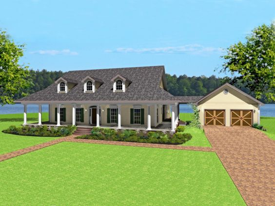 Dario Country Home   Country Homes  Slab Foundation and Wrap    Dario Country Home Plan D    House Plans and More  Wrap around porch