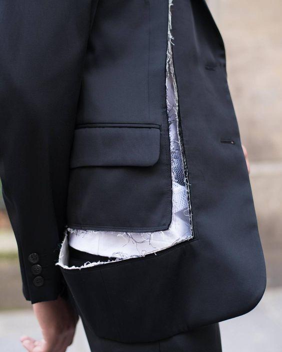 "LECLAIREUR su Instagram: ""#CommeDesGarcons #LeclaireurSevigne Conceptual jacket, heart torn between black or white. @commedesgarcons #Leclaireur #LeclaireurStyle #LeclaireurMan #CDG #ReiKawakubo #JapaneseDesigner #JapaneseFashion #Designers #AvantGarde #AvantGardeFashion #Jacket #Tailoring #Fabrics #Textures #Conceptual #BlackAndWhite #Torn #Fashion #Style #SS16 #Paris"""
