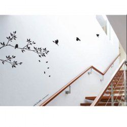 $8.92 Fashion Willow Branch and Birds Pattern PVC TV Background Staircase Wall Sticker Home Decor