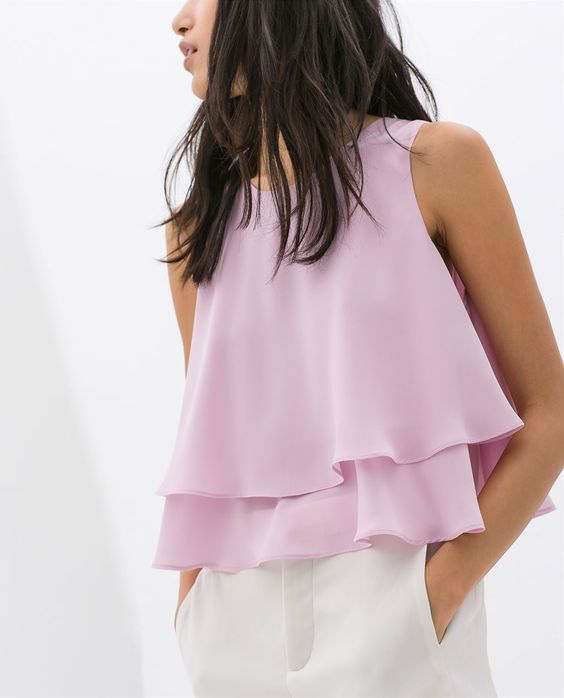 #TOP DOBLE CAPA @· ZARA · 25.95€ #primavera #moda #tendencia #color #pastel #volantes: