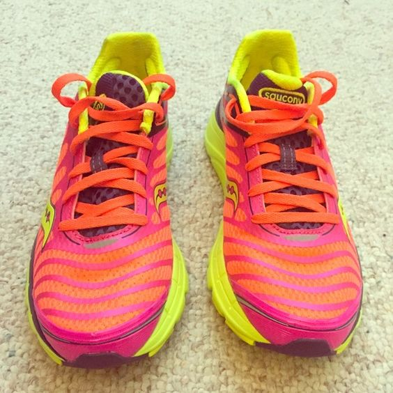 Saucony Progrid Kinvara 3 running shoes SALE NWOT!!!!!! Size 8 woman's running shoes. Orange, bright pink, purple and yellow. Very comfy and lightweight. Saucony Shoes Athletic Shoes