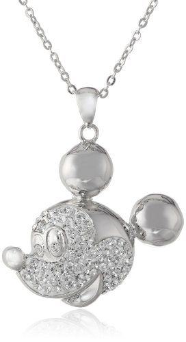 hidden mickey jewelry | disney mickey crystal face chain pendant necklace 18