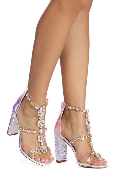 Block heels, Rhinestone heels