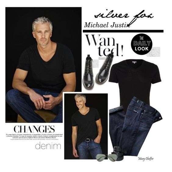 """Silver Fox"" by mcheffer ❤ liked on Polyvore featuring Orlebar Brown, 7 For All Mankind, Forever 21, Ray-Ban, mens, men, men's wear, mens wear, male and mens clothing"