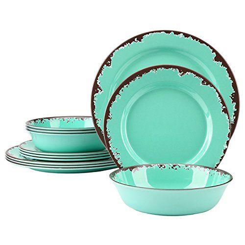 Melamine Dinnerware Set 12 Pcs Plates And Bowls Set Rustic Dinnerware Melamine Dinnerware Sets