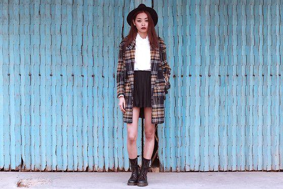 Wendybox Coat, Thrift Store Shirt, Thrift Store Skirt, Dr. Martens Vintage 1490 Boots