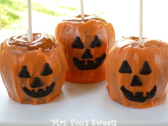 Caramel Apple Jack-O'-Lanterns (from Mrs. Fox's Sweets)