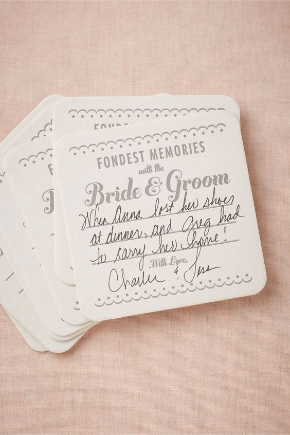 Have guests write their fondest memories of you as a couple on vintage-inspired coasters at dinner - fun and meaningful!