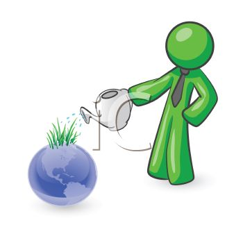 iCLIPART - Royalty Free Clipart Image of a Man Watering Earth