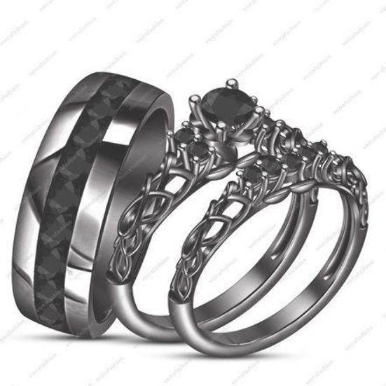 14k Black Gold Fn His Her New Design Wedding Band Black Sim Diamond Ring Set Description After Purchas Black Gold Ring Black Gold Jewelry Black Wedding Rings