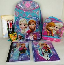 Frozen School Supplies Backpack Lunch Bag Pencil Case Notebooks Crayons JARFF