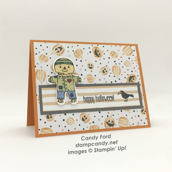 Click through to stampcandy.net for details! Stampin' Up!, Cookie Cutter Halloween, Spooky Fun Stamp Set, Halloween Night Specialty DSP, Fruit Stand DSP, Pumpkin Pie, Basic Gray, Stampin' Write Markers, Scarecrow