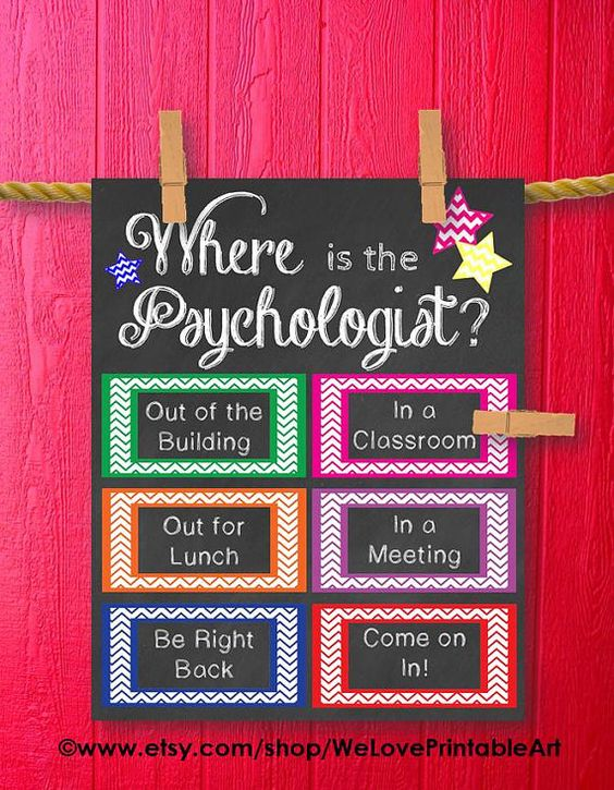 This printable sign would be great for a psychologists office door. It features chalkboard background with colorful chevron boxes and stars: