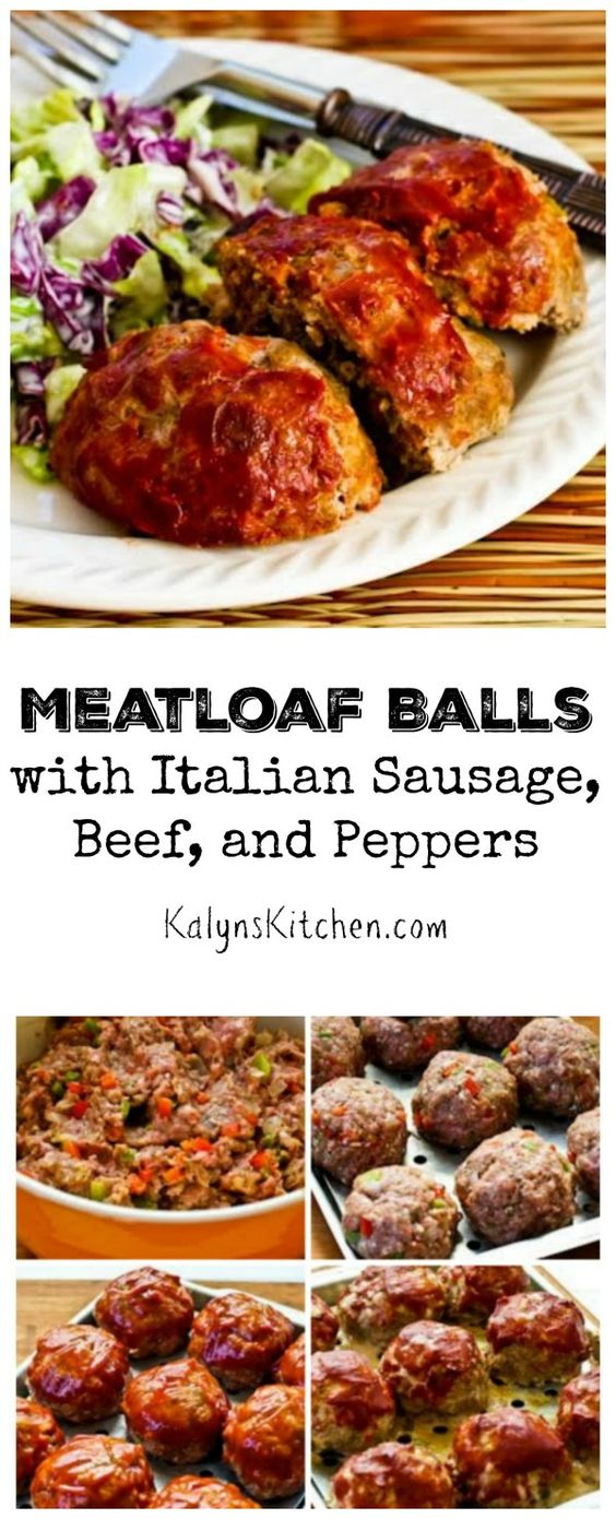These Meatloaf Balls with Italian Sausage, Ground Beef, and Peppers ...