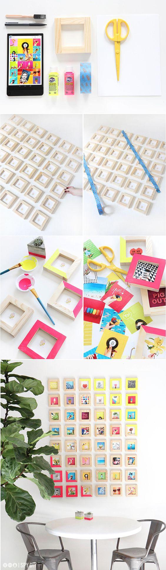 Ideas para colocar fotos - marcos de madera