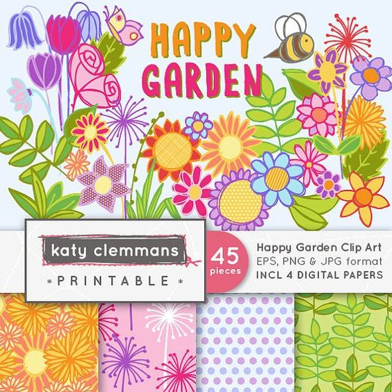 garden digital art  | HAPPY GARDEN digital clip art with digital paper by KCPrintables, $4 ...