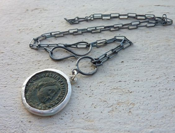 Antique Roman coin necklace ancient coin necklace by anakim, $158.00