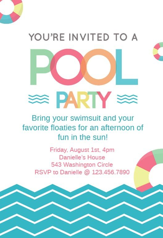 Fun Afternoon Pool Party Invitation Template Free Pool Party