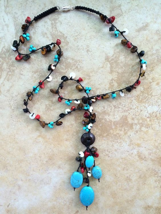 Turquoise Necklace, Beaded Necklace, Stone Necklace, Rustic Necklace, Boho, Bohemian, Hippie, Women Gift, Teen, Rustic, Knotted Jewelry