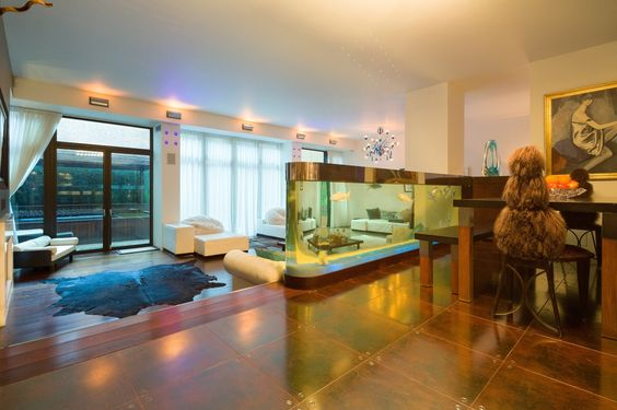 The home has a 550-gallon built-in fish tank.