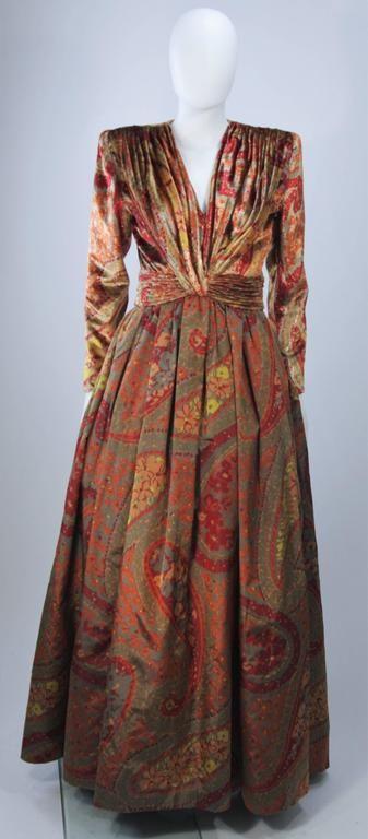 VALENTINO Gathered Metallic Velvet and Silk Gown Size 8 2