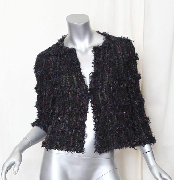 Vintage Chanel Black Fringe Ribbon-Yarn Woven Jacket via fipconsignement #Chanel #Jacket #Vintage
